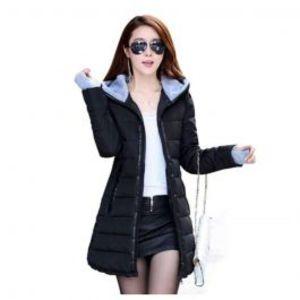 Womens Wadded Down Black Slim Coat