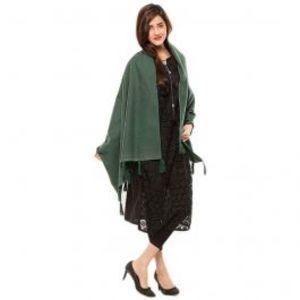 Womens Green Cotton Chamois Shawl 28X80
