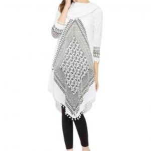 White Viscose Printed Tunic For Women