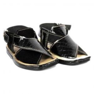 Black Synthetic Leather Kheri Sandals For Kids