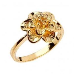 Fashion Café Golden 24 K Gold Plated Flower Stylish Ring
