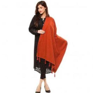 Womens Orange Cotton Chamois Shawl 28X80