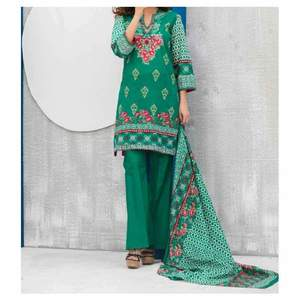 Green Printed 3pc Unstiched Suit