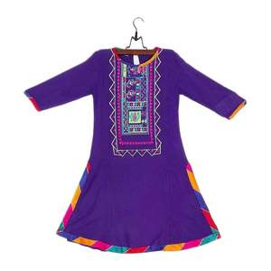 Amaze Collection Purple Linen Embroidery Kurta For Girls