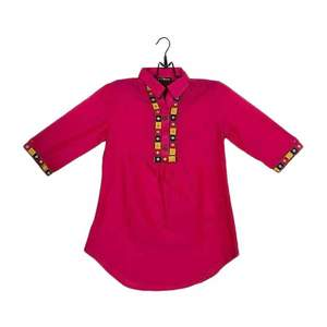 Amaze Collection Pink Cotton Embroidered Kurta for Girls