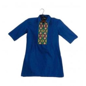 Amaze Collection Blue Malai Linen Embroidered Kurta For Girls