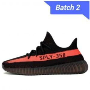 Mens Yeezy Boost 350 V2 Black Red Shoes