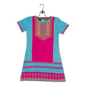 Amaze Collection Pink & Blue Cotton Embroidered Kurta for Girls