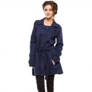 Womens Winter Western Style Long Coat Blue