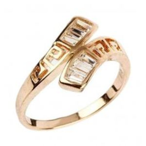 Fashion Café White Zircon Studded 24K Gold Plated Cross Shaped Ring