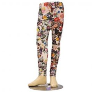 Girls Flower Print Black Skinny Tights