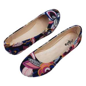 Womens Black Flower Design Footwear