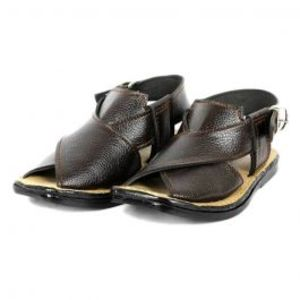 Brown Synthetic Leather Kheri Sandals For Kids