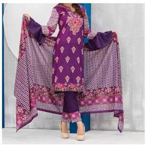 Purple Printed 3pc Unstiched Suit