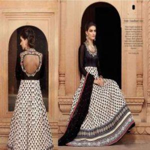 White And Black BEAUTIFUL STYLISH DESIGNER EMBROIDERED DRESS
