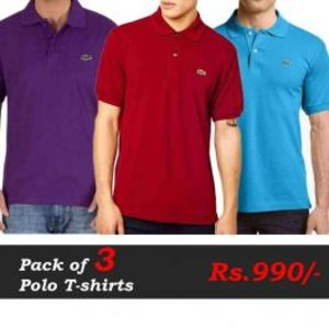 Polo T-Shirts Pack of 3 Deal (Purple  Red  Sea Blue)