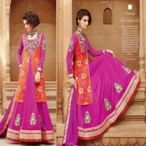 Purple BEAUTIFUL STYLISH DESIGNER EMBROIDERED DRESS