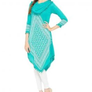 Turquoise Viscose Printed Tunic For Women