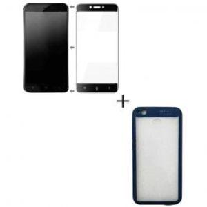 Pack of 2 Xiaomi Redmi 4x Full Coverage Glass & Rubber Grip Hard Case