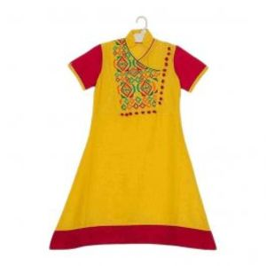 Amaze Collection Yellow & Red Cotton Embroidered Kurta for Girls