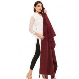 Womens Red Cotton Chamois Shawl 28X80