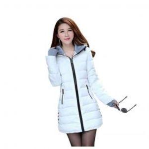 Womens Wadded Down White Slim Coat