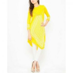 Yellow Viscose Printed Tunic For Women