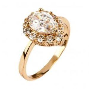 Fashion Café White Zircon Studded 24K Gold Plated Tear Shaped Ring