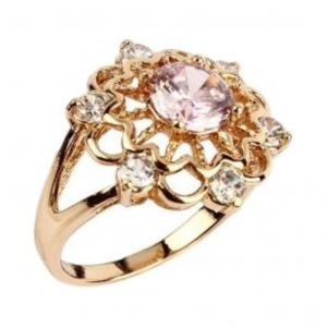 Fashion Café Pink & Silver Diamante Detailed 18 K Gold Plated Ring
