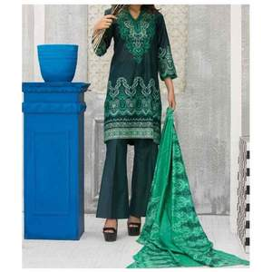 Sea Green Printed 3pc Unstiched Suit