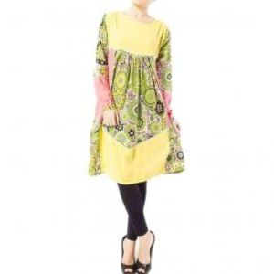 Light Green Tunic With Printed & Solid Combination With Joining Lace