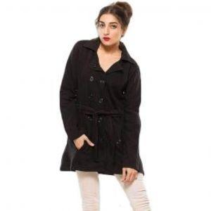 Womens Cotton Fleece Long Coat Front Pockets Black