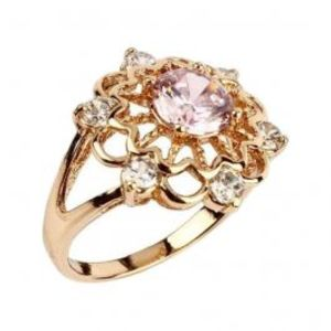 Fashion Café Pink & Silver Diamante Detailed 18 K Gold Plated Ring n