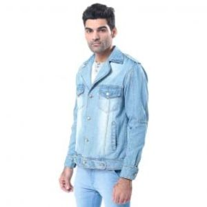 Mens Medium Blue Denim Jacket with Copper Buttons