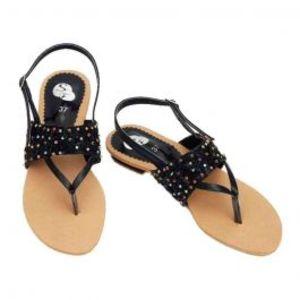 Black & Fawn Rexine Sandals for Women
