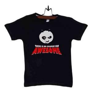 Black Cotton Kung Fu Panda T-Shirt For Kids