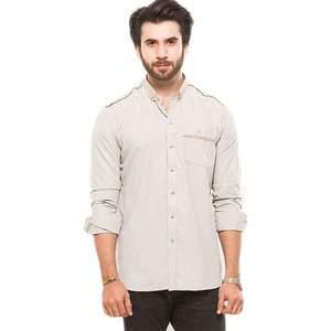Fawn Khadi Designer Mens Shirt
