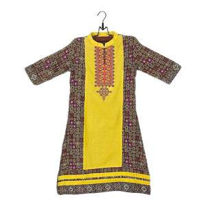 Amaze Collection Khaki Cotton Embroidered Kurta for Girls  GS 220