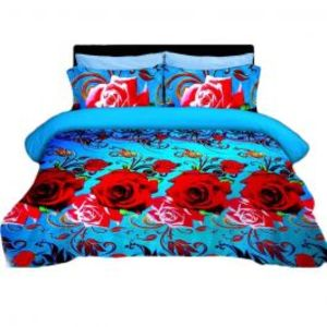 Double Bed Sheet Blue & Red 5D Floral Print With Pillow Covers
