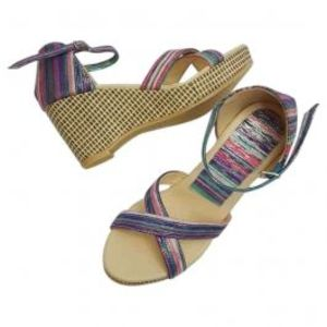 Womens Wedges Blue with Shiny Stripes