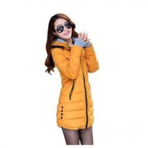 Womens Wadded Down Yellow Slim Coat