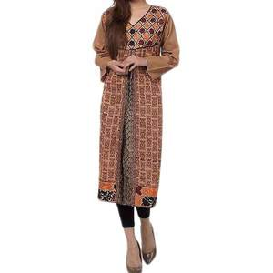Fashion Café Brown Mercerized Lawn Embroidered with Block Printing Kurta for Women