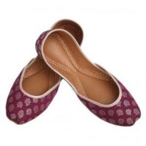 Purple Flower Leather Banarsi Khussa For Women