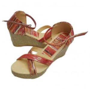 Womens Wedges Maroon with Shiny Stripes