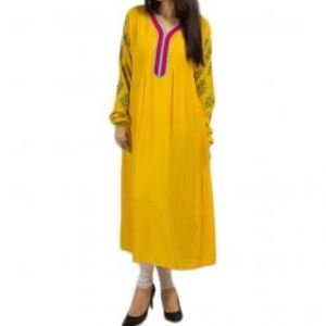 Yellow Malai Lawn Tunic with Churidar Printed Sleeves