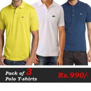 Polo T-Shirts Pack of 3 Deal (Yellow  White  Navy Blue)