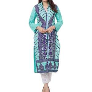Fashion Café Turquoise Blue Mercerized Lawn Embroidered Kurta for Women