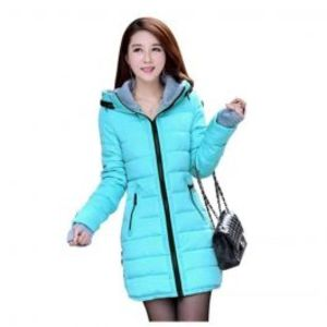 Womens Wadded Down Blue Slim Coat