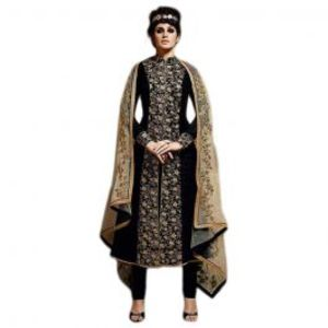 Black Bhagalpuri Embroidered Front Jacket Style  Un Stitched Suit