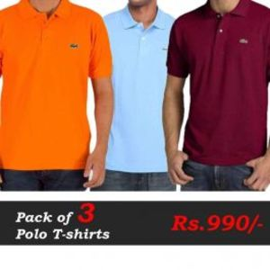 Polo T-Shirts Pack of 3 Deal (Orange  Blue  Maroon)